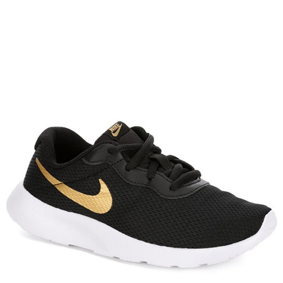 4d5a222790e9 Nike Tanjun PS Girls Running Shoe 11.5C Black Gold